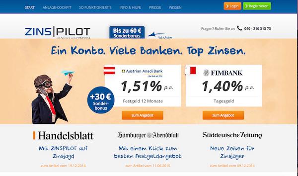 Zinspilot Festgeld, Zinspilot Test