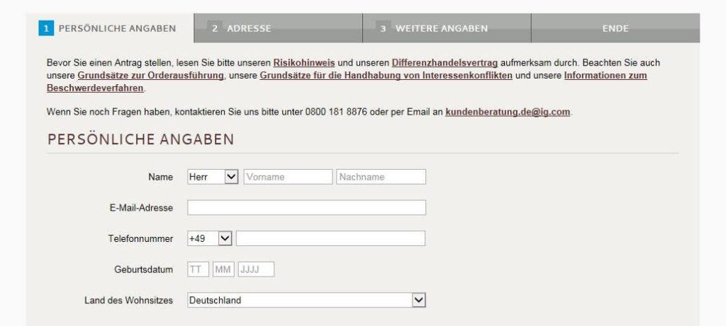 Online Kontoeröffnung bei IG
