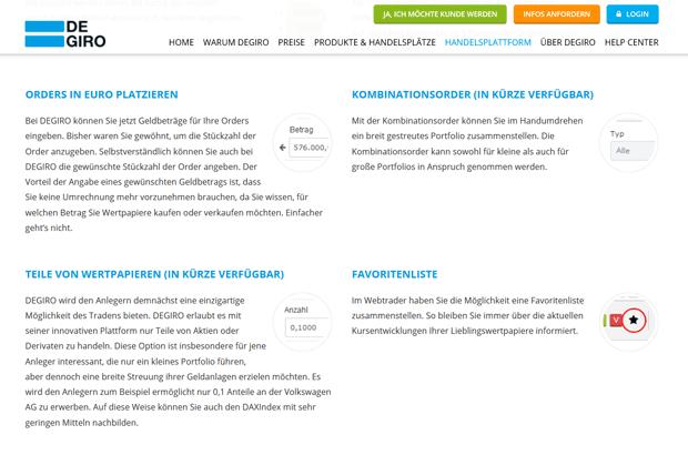 Die Funktionen der DeGiro Plattform