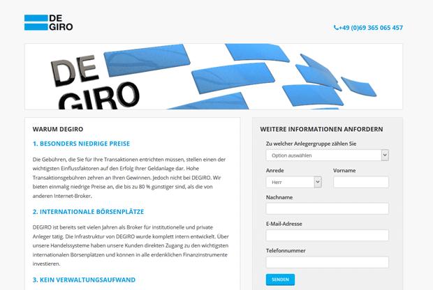 Online-Formular für Infomaterial