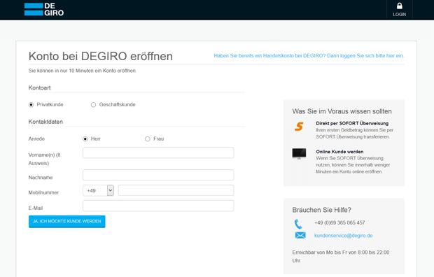 Das Kontoeröffnungsformular von DeGiro im Überblick