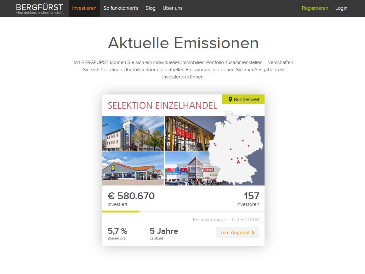 Aktuelle Emissionen bei Bergfürst