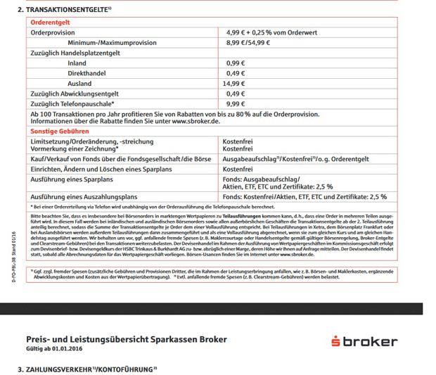 sBroker Preis- & Leistungsverzeichnis