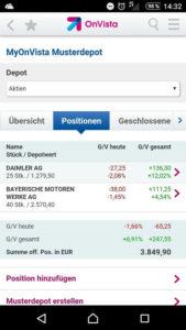 OnVista Bank App Musterdepot