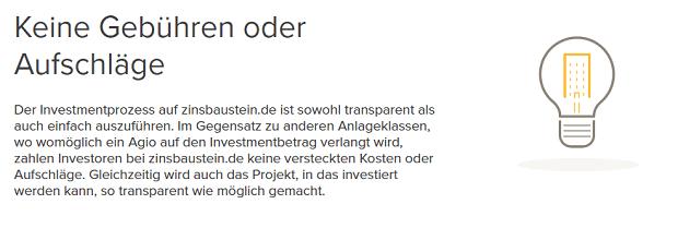Zinsbaustein.de Gebühren