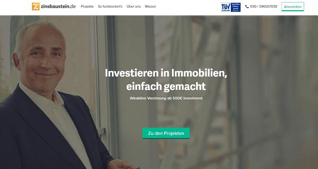 Zinsbaustein.de Internetseite