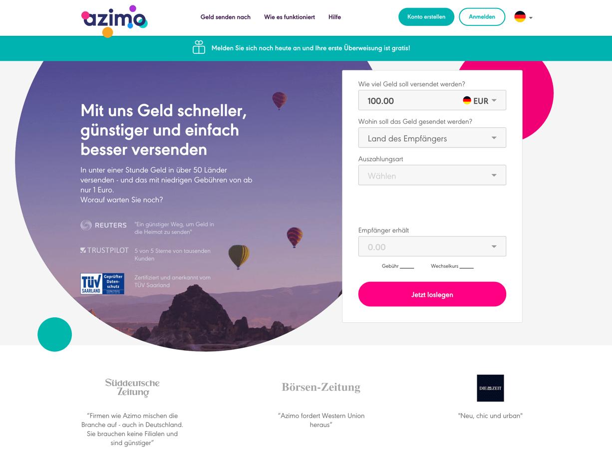 Azimo Erfahrungen von Aktiendepot.com, Azimo Gebühren