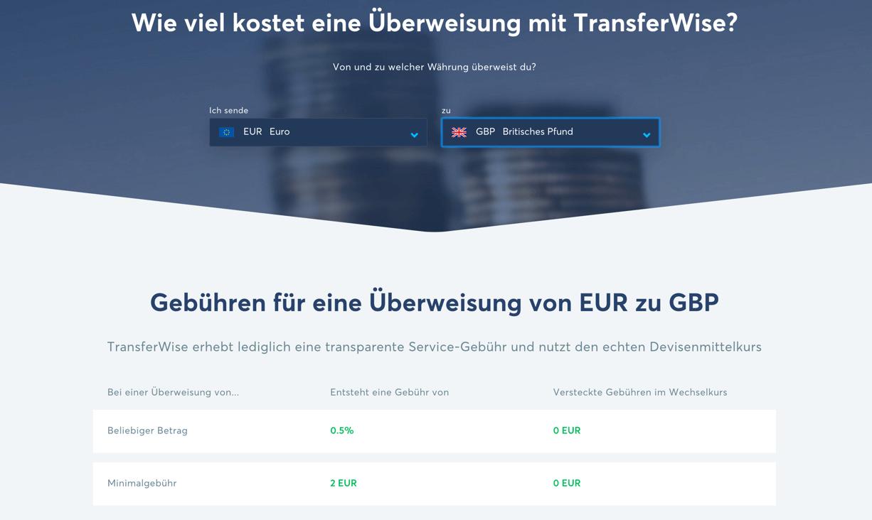 TransferWise Gebühren