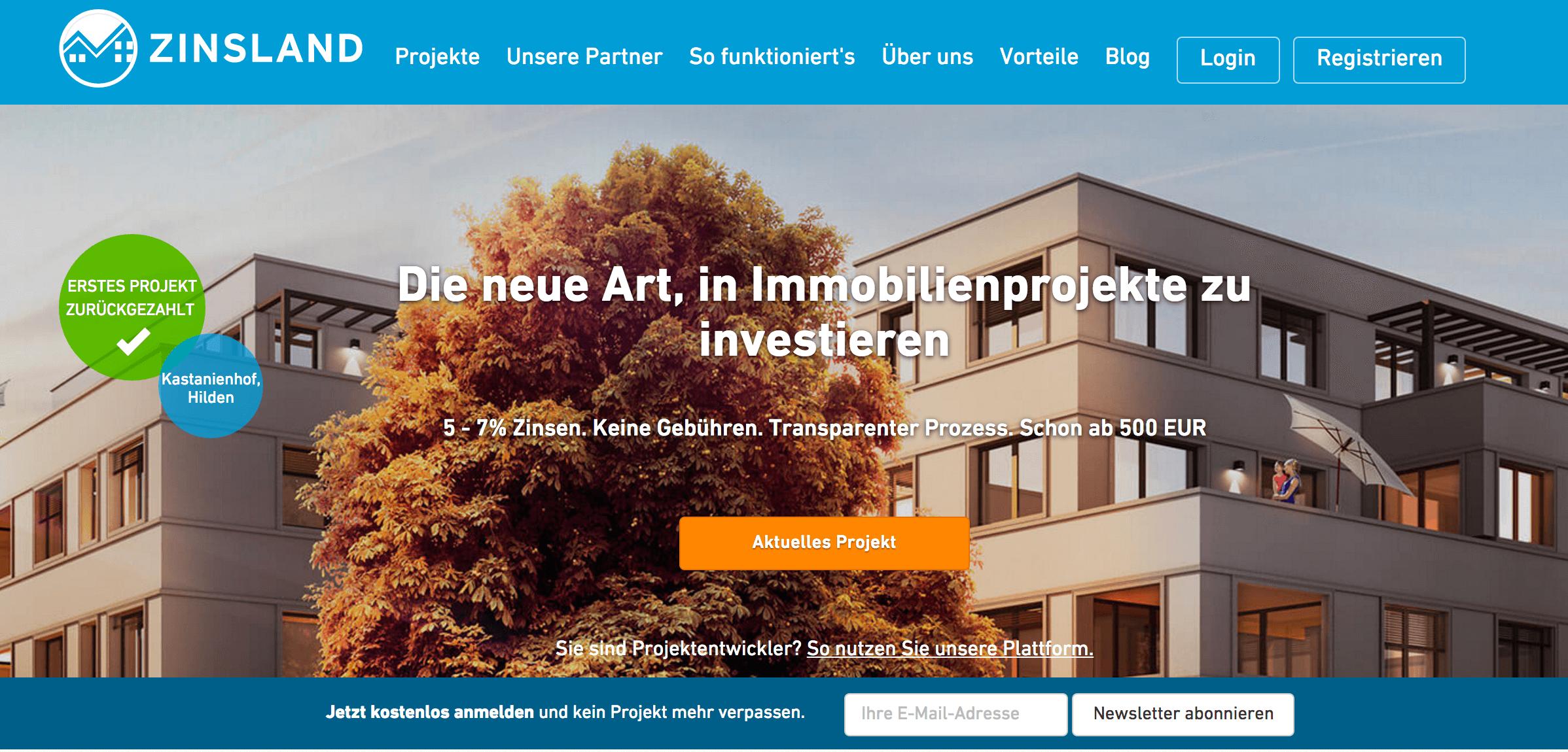 ZINSLAND Crowdfunding Testsieger