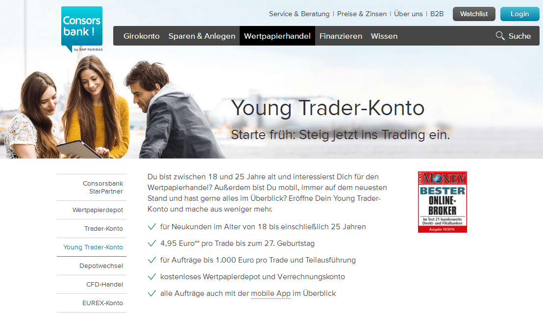 consorsbank young trader konto testbericht