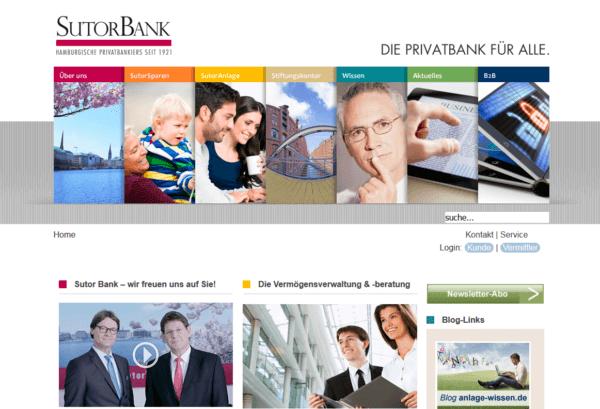 Sutor Bank Webauftritt