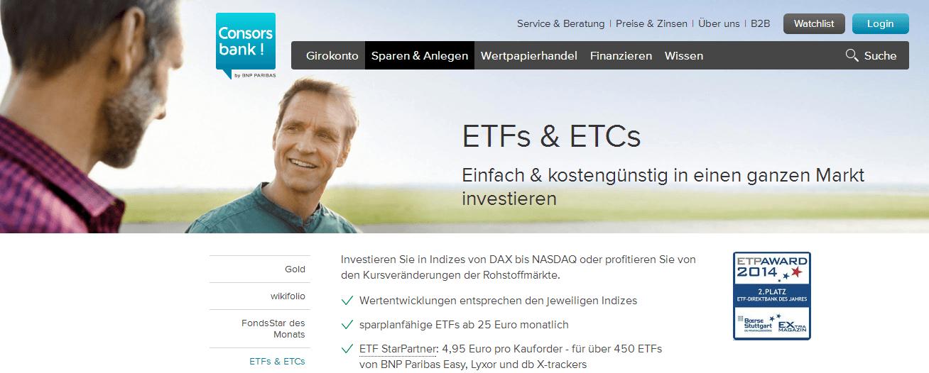 Auch im Bereich der ETFs und ETCs ist die Consorsbank bestens aufgestellt