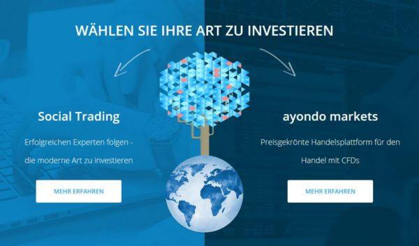 Die Webseite von Ayondo