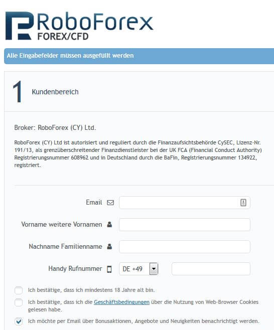 Über ein Formular kann das RoboForex Konto eröffnet werden