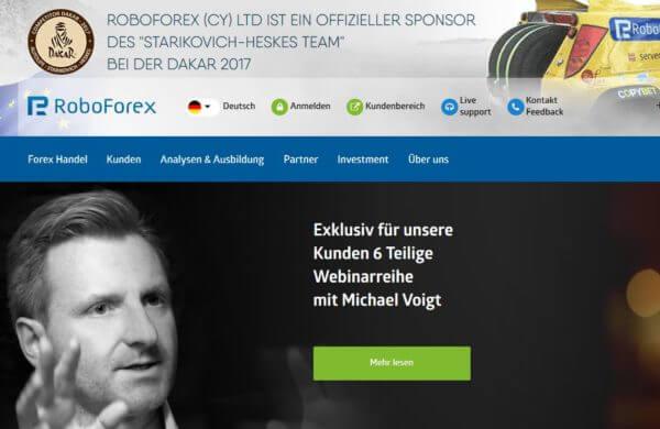 So präsentiert sich RoboForex auf seiner Webseite