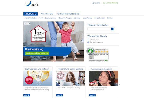 BBBank Webseite