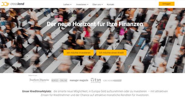 CrossLend Webseite
