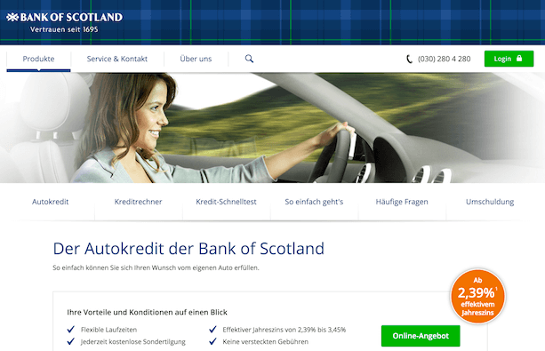 Bank of Scotland Autokredite
