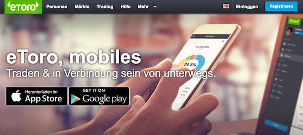 Dank der eToro-App können Trader auch unterwegs die Kurse immer im Auge behalten