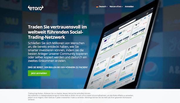 eToro gehört zu den führenden Social-Trading-Plattformen der Welt