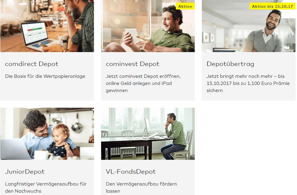 Comdirect bietet eine Vielzahl an individuellen Depotarten.