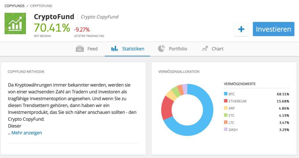 Der CryptoFund von eToro beinhaltet verschiedene Kryptowährungen und bietet ein breites Investment