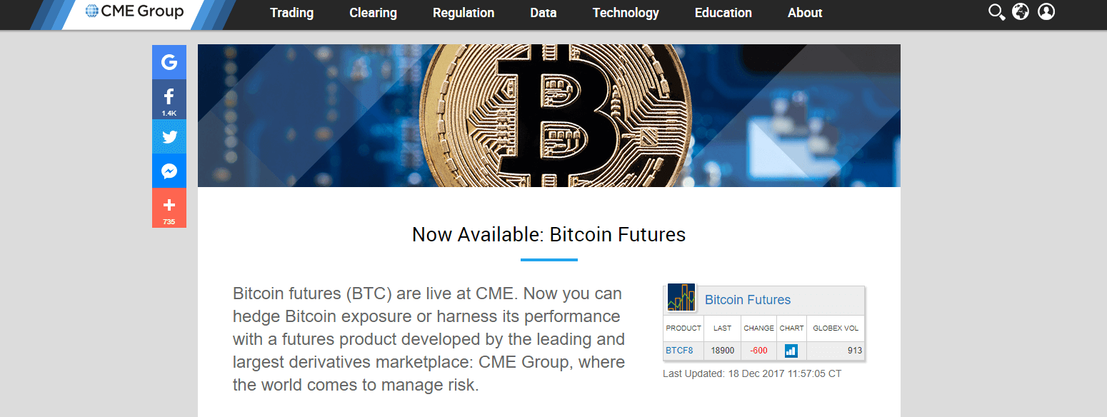 Seit gestern Nacht ist der Bitcoin Handel an der Terminbörse CME möglich.