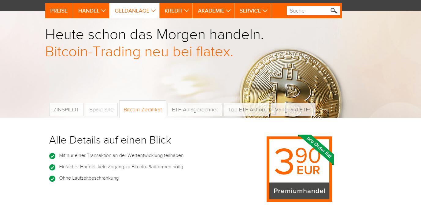 Bei flatex das neue Partizipationszertifikat auf den Bitcoin für nur 3,90€ flat handeln.