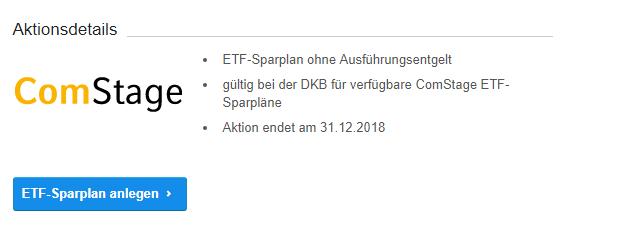 Die Aktionsdetails der DKB ComStage ETF Aktion