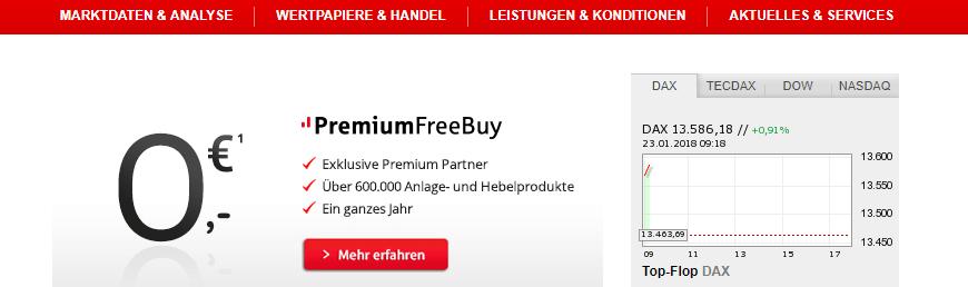 Die aktuelle S Broker Premium FreeBuy Aktion.