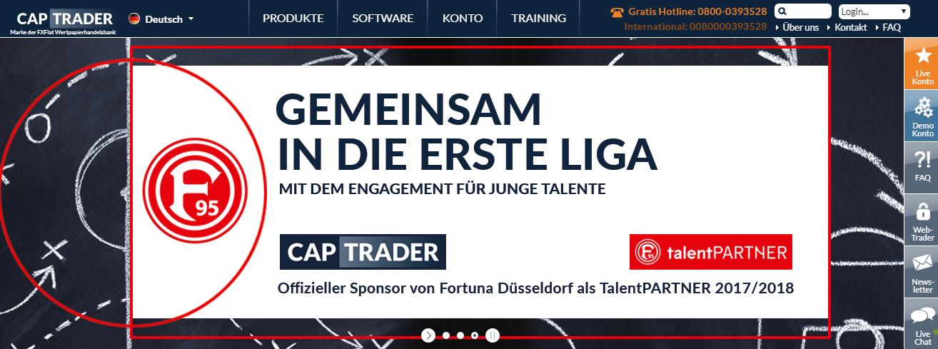 captrader fortuna düsseldorf sponsoring