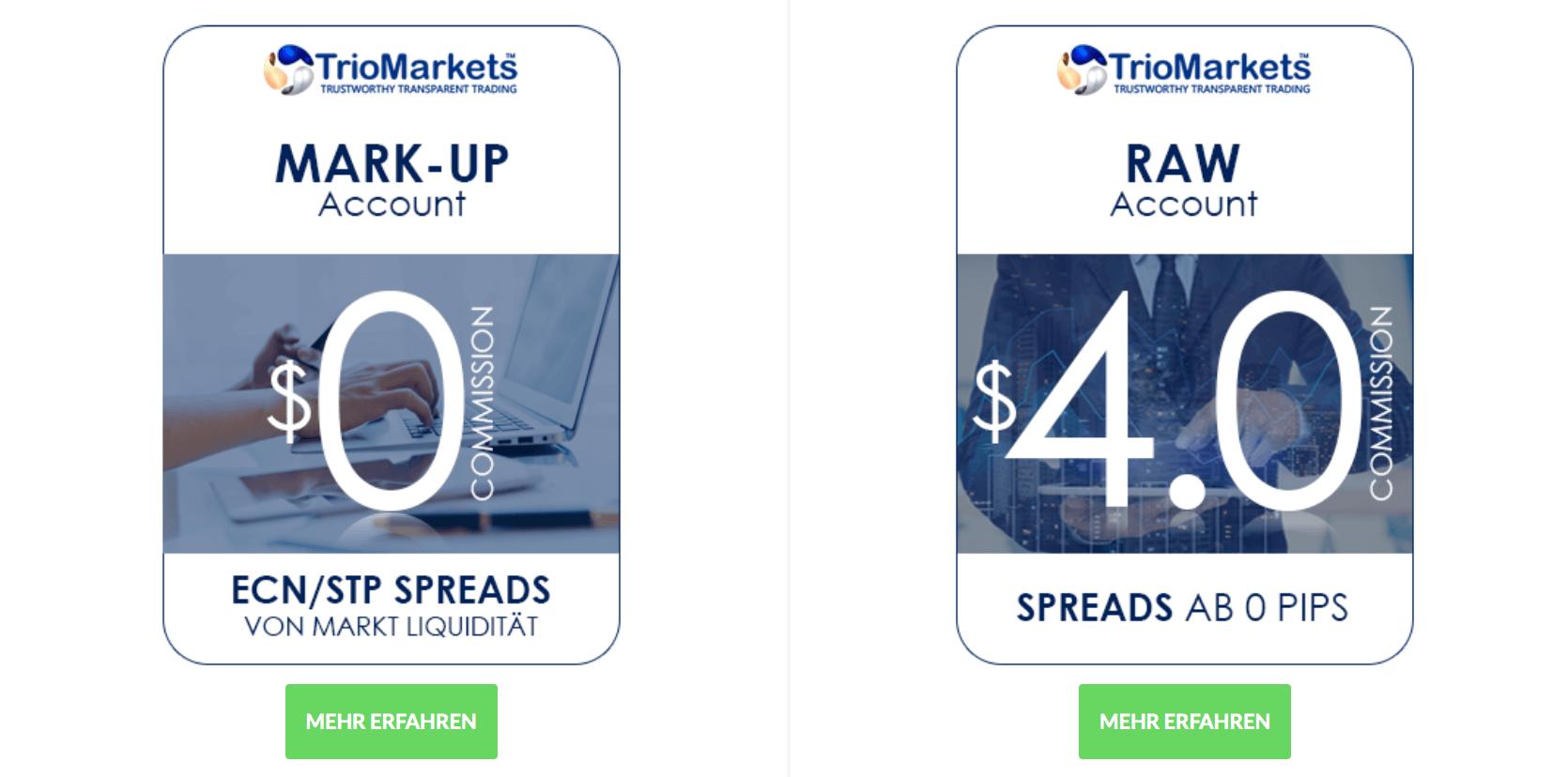 TrioMarkets lässt seinen Kunden die Wahl - die Spreads beginnen bei 0 Pips