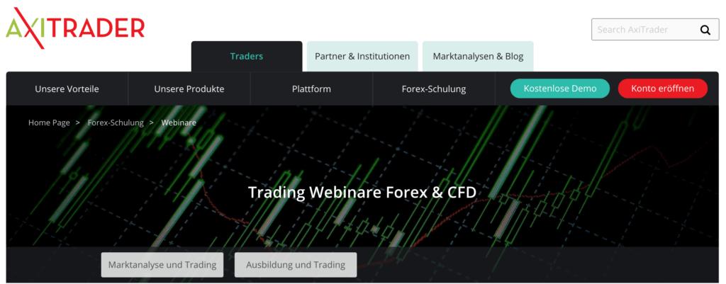 Forex- und CFD-Webinare bei AxiTrader