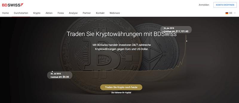 BDSwiss CFDs auf Kryptowährungen