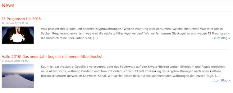 Bitcoin.de News-Bereich
