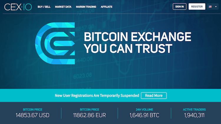 CEX.io Webseite