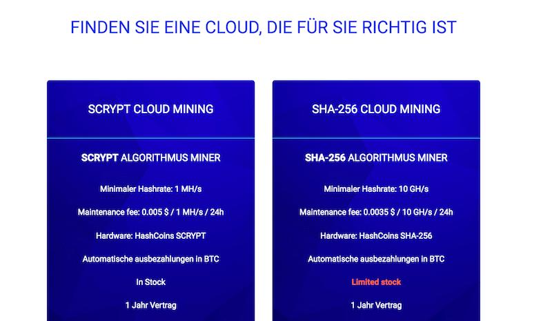 HashFlare Cloud Mining Pakete