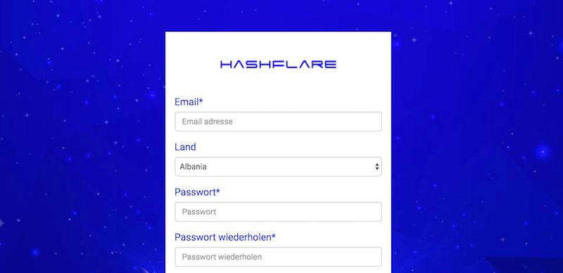HashFlare Registrierung