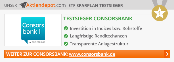 ETF Sparplan Vergleich von von Aktiendepot.com