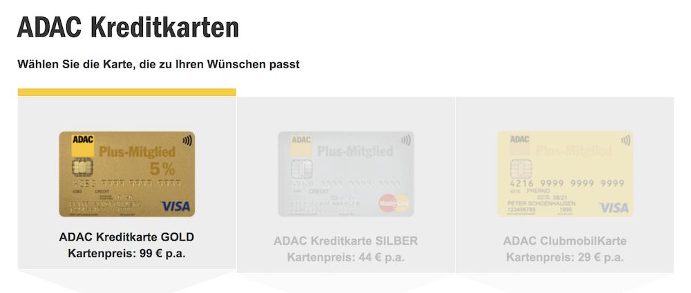 ADAC Kreditkarten Auswahl