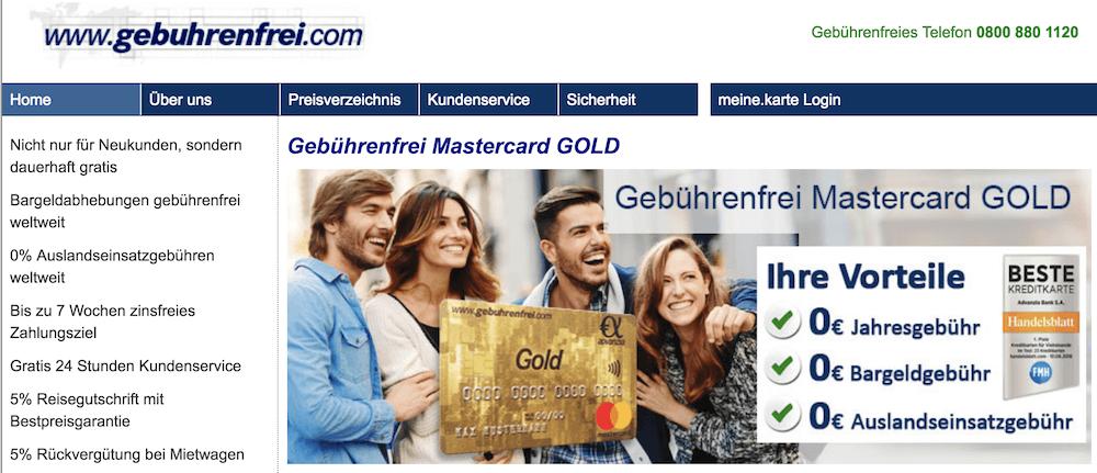Advanzia Bank gebührenfreie Mastercard