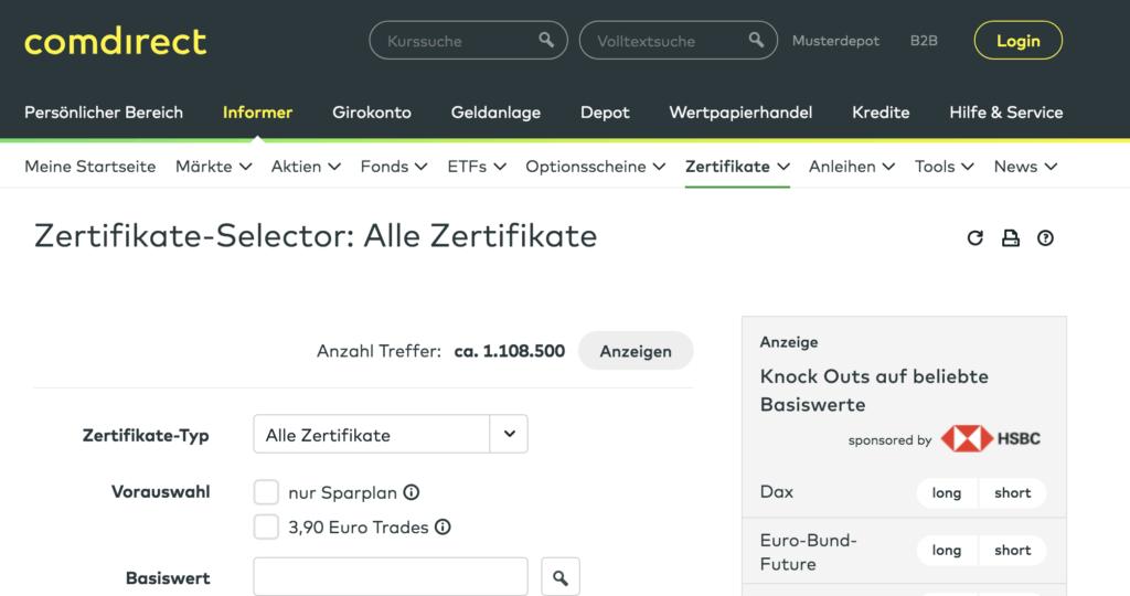 Comdirect Zertifikate Selector