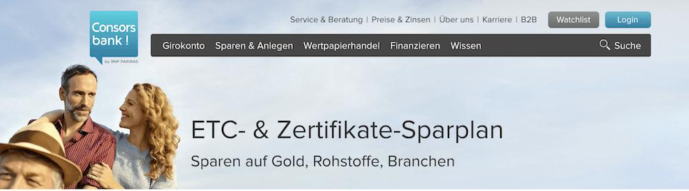Consorsbank Zertifikate-Sparplan