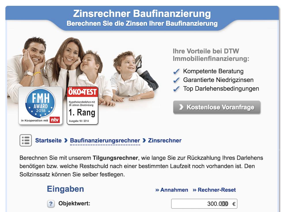 DTW Zinsrechner