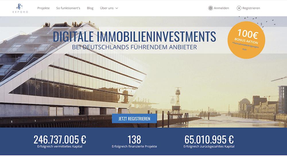 Exporo bietet digitale Immobilieninvestments an