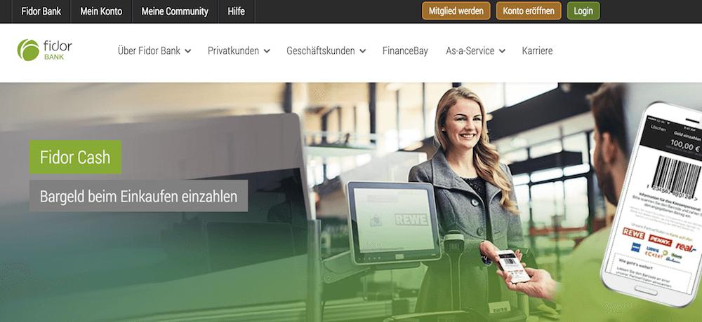 Fidor Bank Homepage