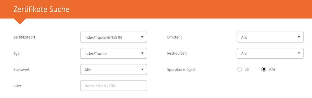 ING-DiBa Zertifikate Suche