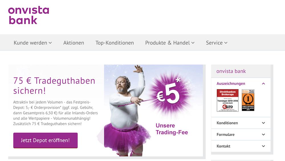 OnVista Bank Webseite