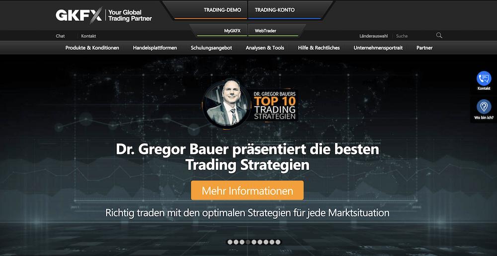 Webseite des Brokers GKFX