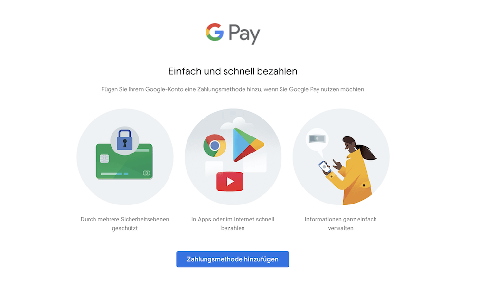 Google Pay Zahlungsmethoden hinterlegen